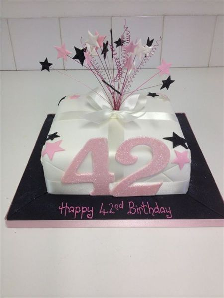 42nd Birthday Cake With Stars On Wires