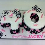 40th birthday cake with black white and pink theme