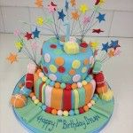 bright coloured 2 tier birthday cake with stripes and spots