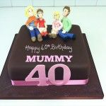 40th birthday cake for a mother with her family made out of icing
