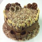 marbled tubes chocolate heart cake with chocolate flowers