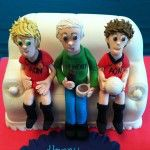 sofa cake with handmade figures