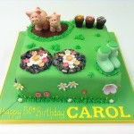 garden cake with pigs