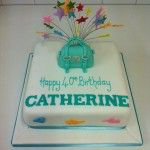 turquoise handbag cake with multicoloured stars on wires