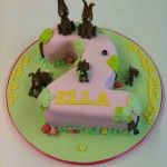 number 2 cake with rabbits