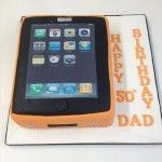 iphone cake with orange cover
