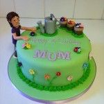 gardening cake with watering can