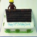 roofer on top of cake with yello bandana