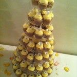 cupcake tower with individual handmade gerberas