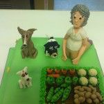 gardening cake with dogs