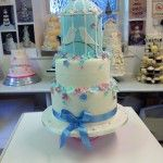 pale blue and dusky pink  birdcage wedding cake