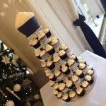 navy and silver cupcake tower with snowflakes
