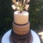 chocolate wedding cake with circles on wires coming out of the top