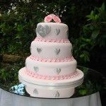 pink and silver heart cake