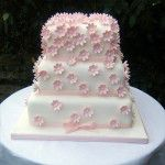 square pink flower 3 tier