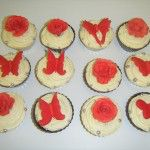 red butterfly and rose cupcakes