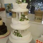 white 3 tier with swags