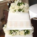 square top tier with roses