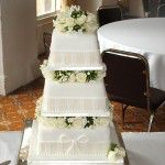 white and ivory panel cake