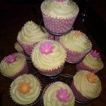 cupcakes pink and orange flowers