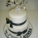2 tier black and white 18th birthday cake