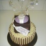 2 tier cake with sugar watch in box