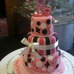 3 tier sweet 16 cake pink and black