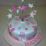 18th cake covered in 18&#039;s with stars on wires
