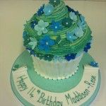 giant turquoise cupcake