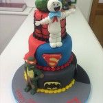 marvel cake, with turtle, hulk superman and batman