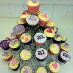 pink and purple 21st birthday cupcakes