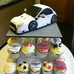 Aston Martin cake with cupcakes