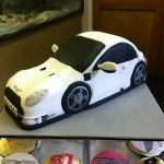 White Aston Martin cake
