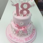 2 tier double board pink cake with white daisies