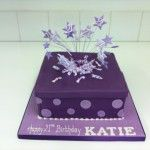 dark purple boxed present cake