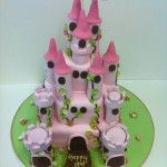 3 tier pink castle cake