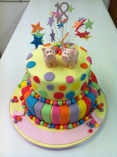 Bright Coloured Spots And Stripes Cake With Pink Pigs