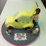 yellow car cake with girl who loves shopping