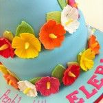 hawaiin flowers cake
